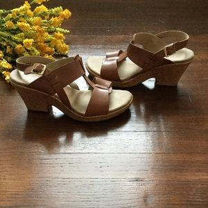 Leather Clark Wedge Sandals